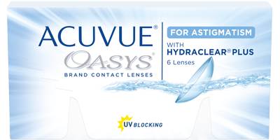 Pack of 6 re-usable lenses. ACUVUE OASYS® for ASTIGMATISM Contact Lenses with HYDRACLEAR® PLUS Technology and UV Blocking.